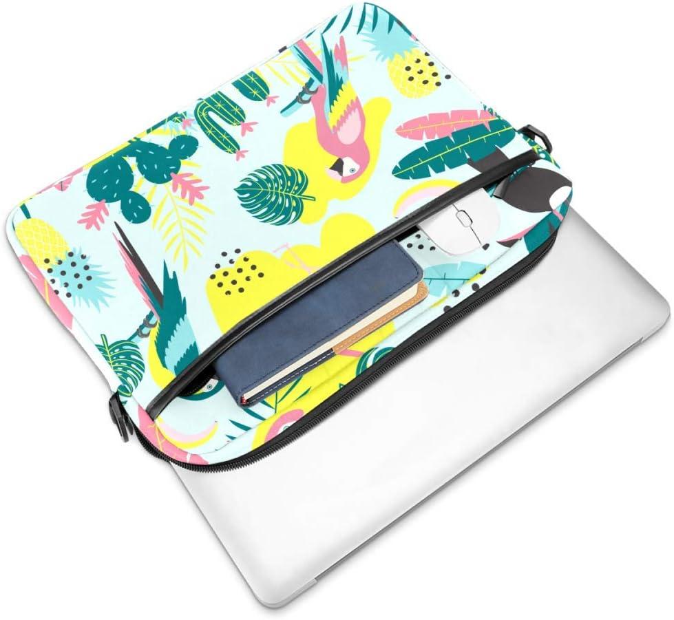 Tropical Pattern with Toucan FlamingosLaptop Case Canvas Pattern Briefcase Sleeve Laptop Shoulder Messenger Bag Case Sleeve for 13.4-14.5 inch Apple Laptop Briefcase
