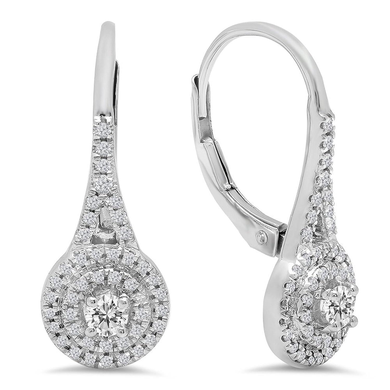 0.50 Carat (Ctw) 14K White Gold Round White Diamond Ladies Double Frame Halo Style Hoop Earrings 1/2 CT