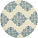 Cheap Safavieh Chelsea Collection HK145A Hand-Hooked Ivory and Blue Premium Wool Round Area Rug (3′ Diameter)