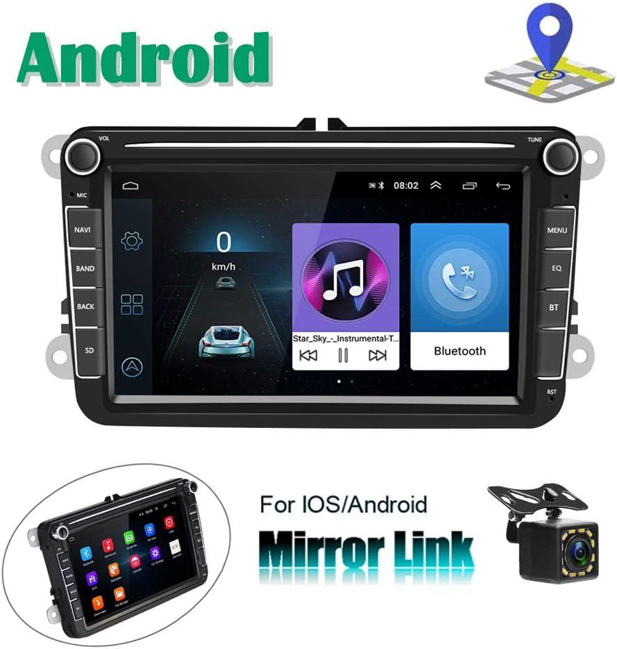 Radio para Coche Android para VW Navegación GPS Camecho 8'' Pantalla táctil capacitiva Bluetooth Car Reproductor estéreo WiFi FM Radio Receptor Dual USB para VW Golf Touran Jetta Polo Seat
