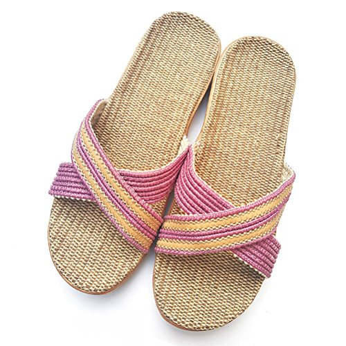 AODEW Linen Slippers, Unisex Summer Skidproof Indoor Couples Home Outdoor Open Toe Beach Sandals by AODEW