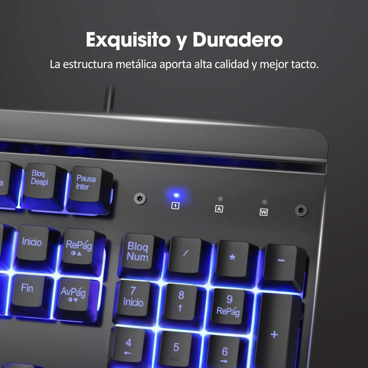 PICTEK Teclado Gaming, Teclado Gaming PC LED Retroiluminación con Cable Teclado, 12 Atajos Multimedia, 19 Anti-Ghosting, Teclado USB de 1,6 M, Teclado ...