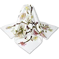 """corciova 35"""" 14 Momme Twill 100% Real Mulberry Silk Square Women Scarfs Scarves White Pear Flowers Patterns"""