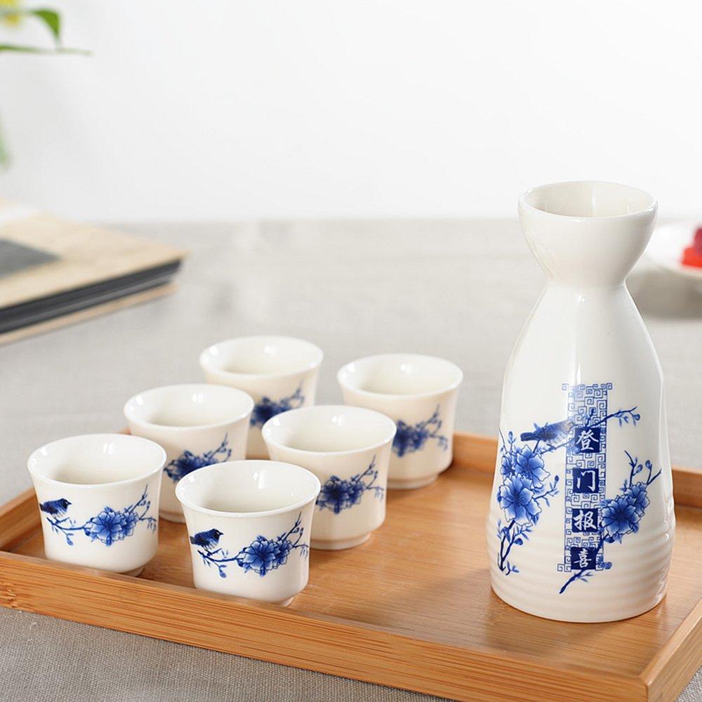 Dehua Porcelain 7 Pc Ceramic Sake Set White and Blue Porcelain-#2