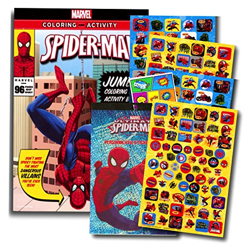 Marvel Spiderman Coloring Book with Over 270 Spiderman Stickers & Bonus Superhero Sticker]()