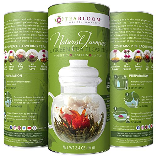 Teabloom Natural Blooming Tea – Hand Tied Organic Green Tea Leaves + Jasmine Blossoms Flowering Tea Creations – Blooming Tea Gift Set – 12-Pack, 36 Steeps, Makes 250 Cups (Blooming Flowering)