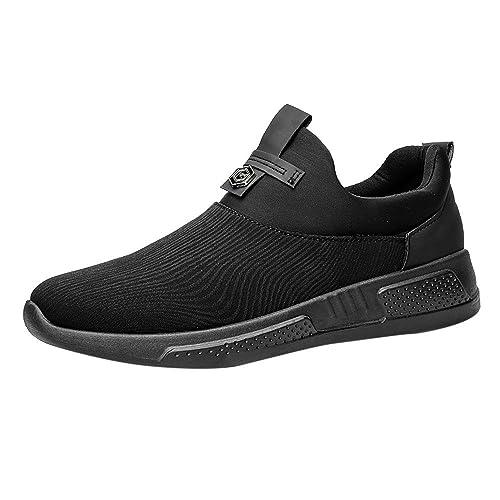 OHQ Toile De Couleur Unie Plate Peu Profonde avec des Chaussures Sport  Plates Noir Blanc Hommes Fashion Canvas Shallow Plat Gymnastique Pointues  Toe ... 9f91008d1c95