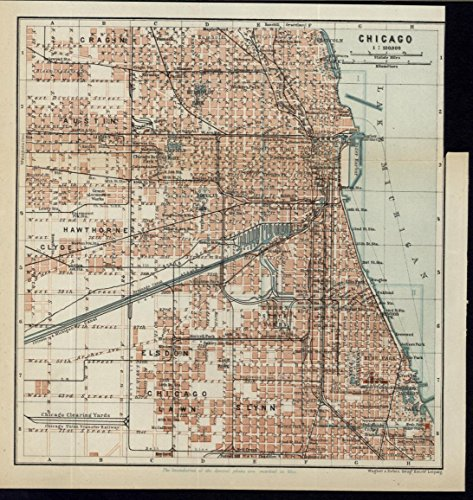 Chicago Illinois Garfield Park 1905 antique detailed color lithograph city plan