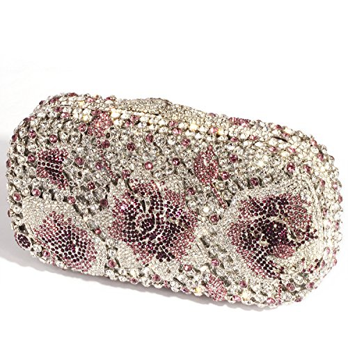 Digabi and Bags Purple Flower Evening Butterfly Handbags Clutch Crystal Purple Women wAwO7g