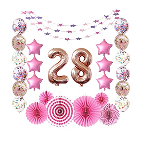 28 Rose Gold Number Foil Balloons For 28th Birthday Party Sign Supplies Adult Men Women S 28 Years Old Birthday Party Decorations Amazon In Health Personal Care