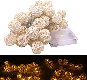 Rattan Light, 5m/16.5 ft 40 Bulbs 3cm White Rattan Ball String Lights for Battery Powered for Indoor,Bedroom,Curtain,Patio,Lawn,Landscape,Fairy Garden,Home,Wedding,Holiday,Christmas Tree,Party