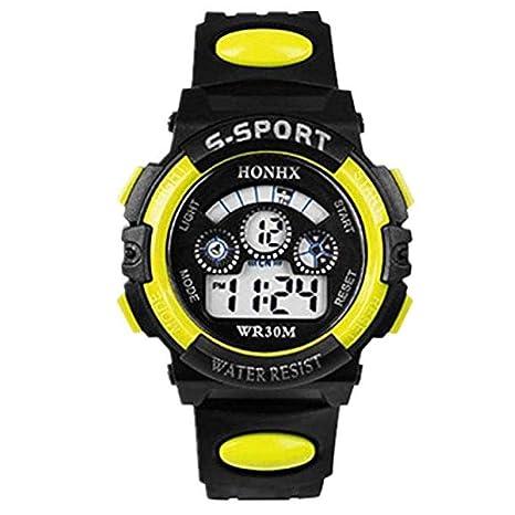 Scpink Relojes deportivos, Reloj impermeable de cuarzo digital para hombre con alarma de