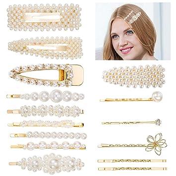 Haarklammer Haarspange Weiße Perlen Spange Trend Mode