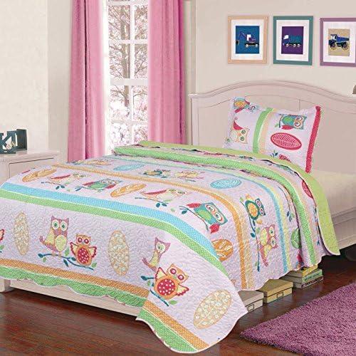 Elegant Home Cute Beautiful Girls Mutlicolor Pink Blue Green Orange Owl Design 2 Piece Coverlet Bedspread Quilt for Kids Teens//Girls Twin Size # K18-03
