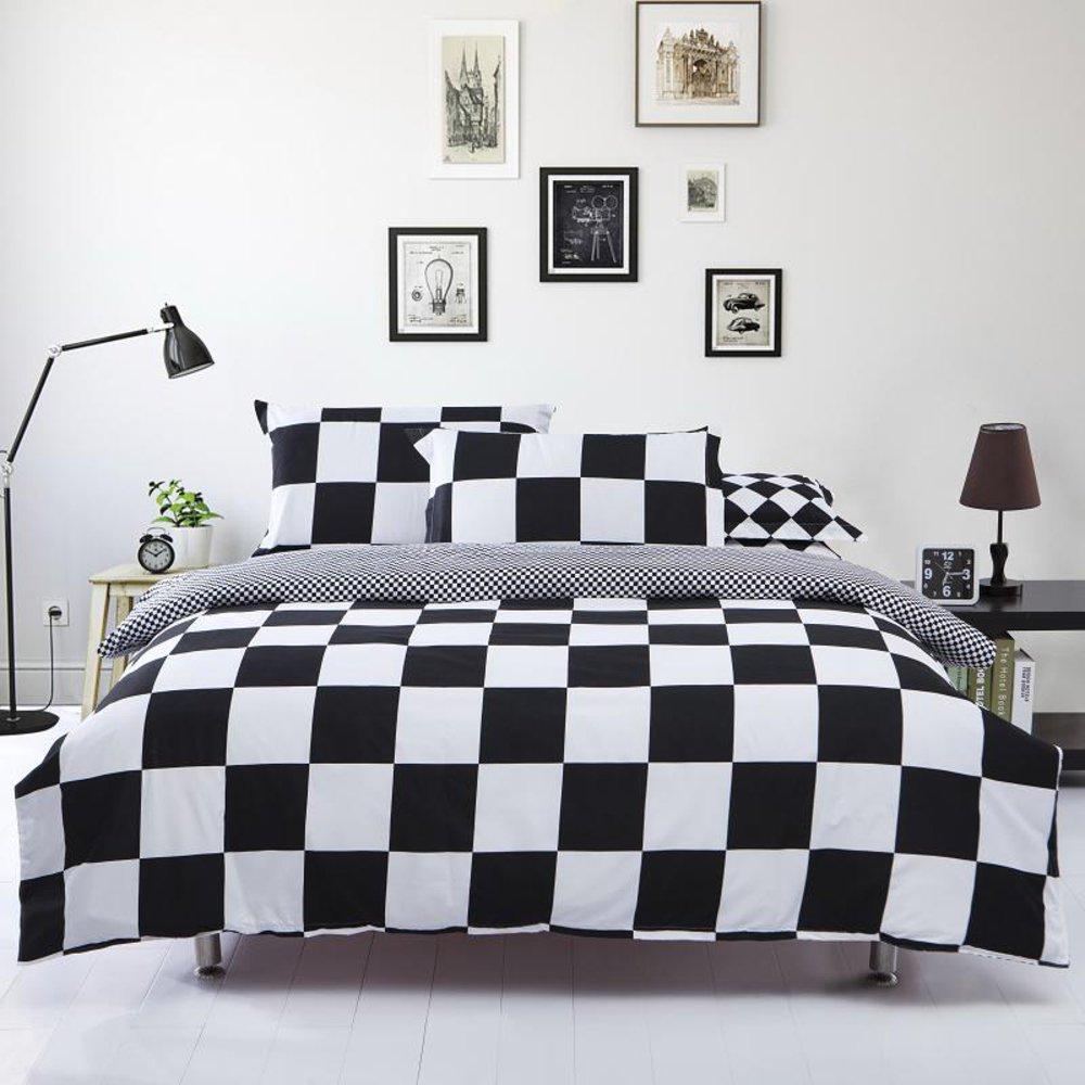 Black and White Style Cotton 4Pcs Bedding Set 1 Duvet cover