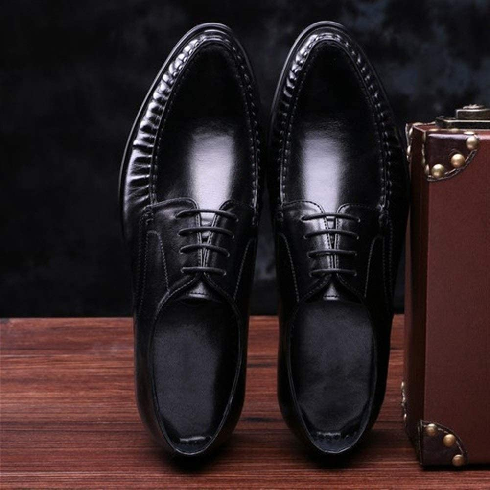 Rui Landed Premium Genuine Leather Business Casual Oxford for Men Formal Shoes Lace Up Style Breathable Solid Colors Block Heel Round Toe Black