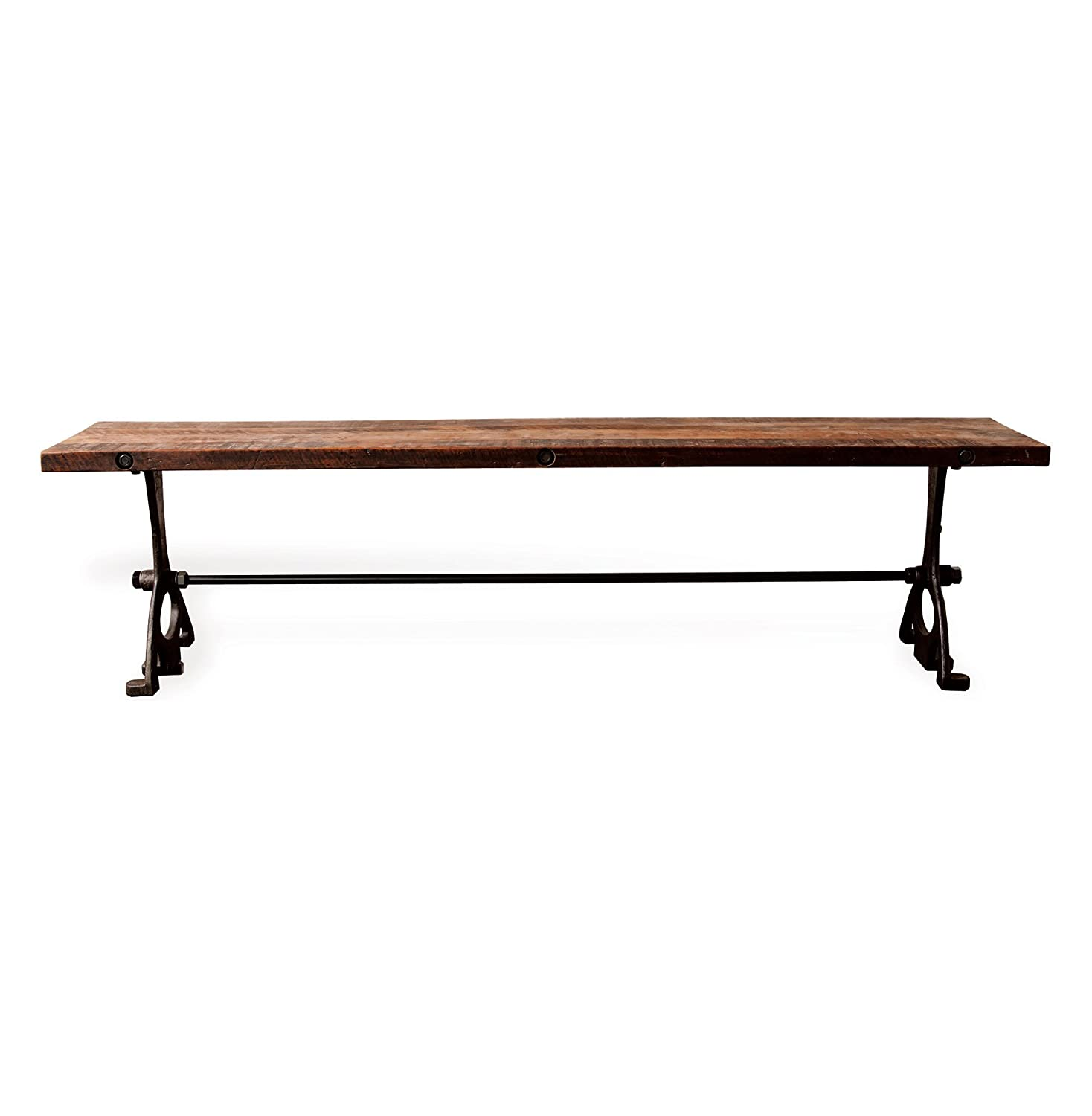 Amazon.com   Bartley Industrial Reclaimed Wood Cast Iron Dining Bench   S    Table Benches