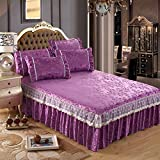 Le fu Yan Bed skirt ruffled sheets bedspreads protective pure lace lotus leaf french velvet crystal-C 120x200cm(47x79inch)