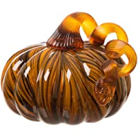 Glitzhome Handblown Two Tone Stripe Glass Pumpkin Table Accent For Fall & Harvest, Thanksgiving Decorating, Amber & White