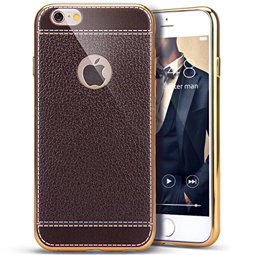 Price comparison product image iPhone 6S Plus/ 6 Plus Case, PHEZEN Luxury Ultra Silm Fit Plating Gold Frame Hybrid TPU Soft Silicone Bumper Case and Vintage Classic PU Leather Back Case Cover iPhone 6S/6 Plus 5.5 inch, Dark Brown