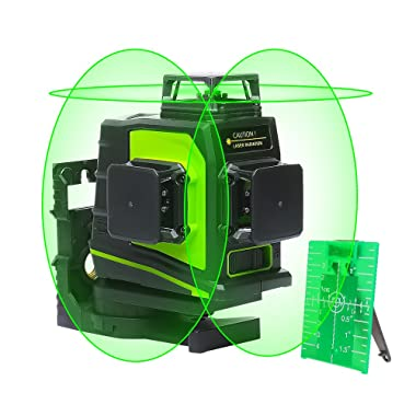 Huepar 3D Green Beam Self-Leveling Laser Level 3x360 Cross Line Three-Plane Leveling and Alignment Laser Level Tool -Two 360° Vertical and One 360° Horizontal Line -Magnetic Pivoting Base GF360G