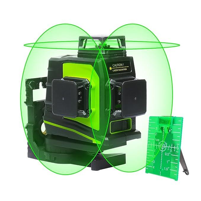 Huepar GF360G 3D Nivel Láser Verde Autonivelador 3x360 Línea Cruzada 45m Nivelación y Alineación en Tres Planos - Dos Líneas Verticales 360° y Una Línea ...