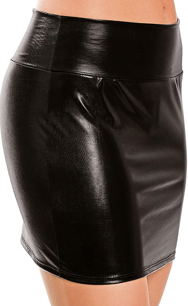 Adoreyou One Size Patent Leather Wet Look Pole Dance Shiny Skirt