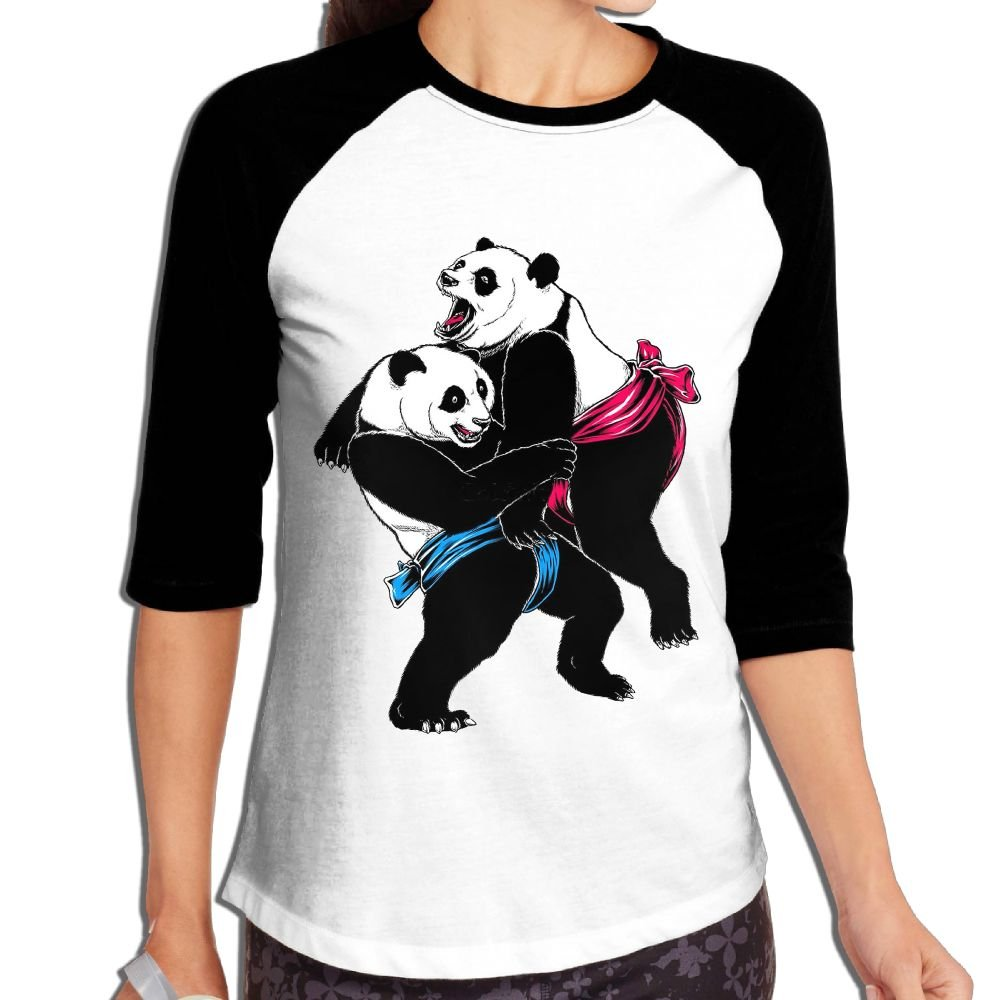XIANGKESI Stylish Women's Fierce Panda Sumo Wrestling Games Mid Sleeve Raglan T-Shirt by XIANGKESI
