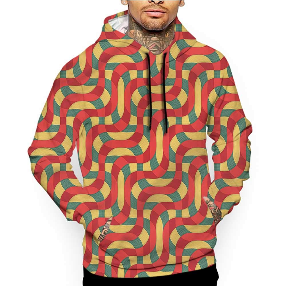 flybeek Hoodies Sweatshirt/Men 3D Print Retro,Checkered Squares Stripes,Sweatshirts for Men Prime