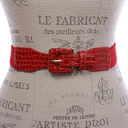 1 1/2 Ladies High Waist Fashion Croco Print Stretch Belt, Red   l/xl 34~40