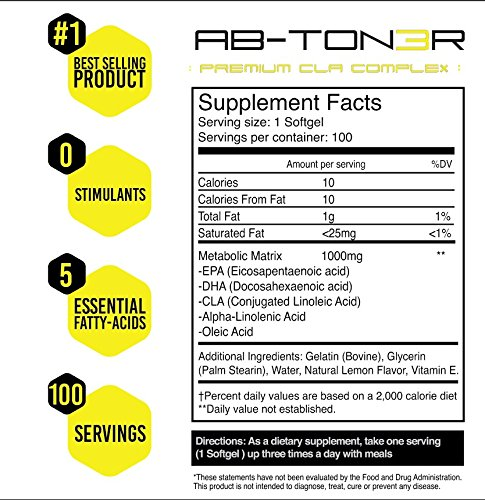 Ab Ton3r ✮ Natural Non Stimulant Fat Burner ✮ Fat Burning Supplement with CLA & DHA ✮ Best Appetite Suppressant and Diet Pill to Reduce Belly Fat for Men & Women ✮ 100 Caps