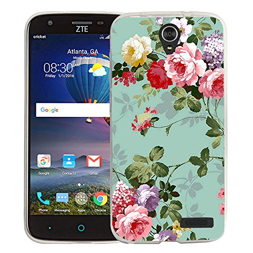 ZTE ZMAX Grand LTE Case, ZTE ZMAX Champ Case, Linkertech Slim Air Armor Thin Fit Silicone Gel Soft TPU Bumper Durable Flex and Easy Grip Case for ZTE Grand X3 / ZTE Warp 7 (Peony)