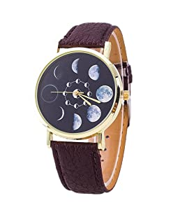 Braceus Moon Phase Astronomy Space Watch Faux Leather Band Quartz Wrist Watch (Dark Brown)