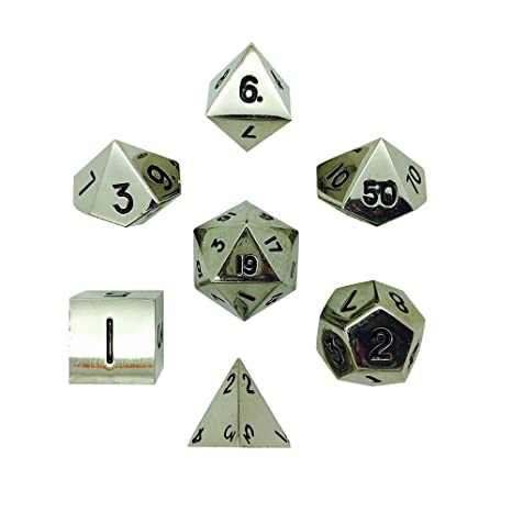 Amazon Set Of 7 Chainmail Silver Full Metal Polyhedral Dice