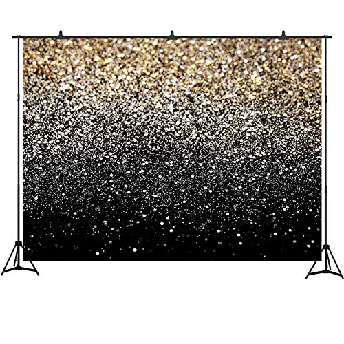 Gold and Silver Glitter Backdrop 7x5ft Abstract Texture Prom Decoration Vinyl Photography Background Studio Props Graduation Party Banner -