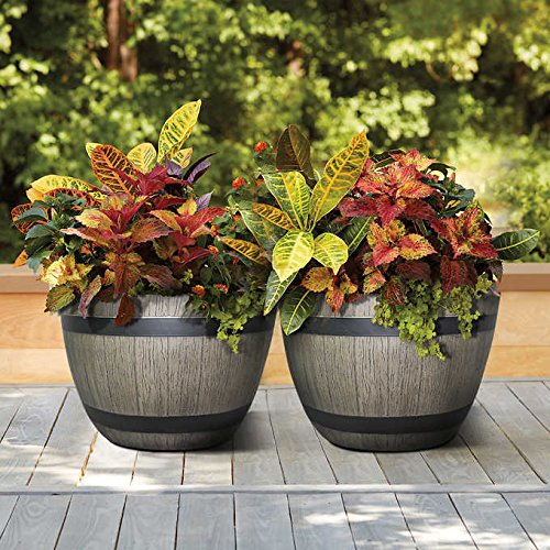 2-Pack High Density Resin Wine Barrel Patio Garden Pot Planters in Wood Grain Natural Look