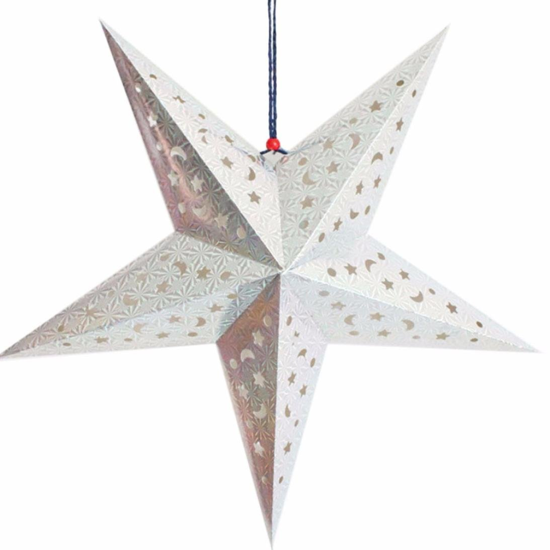Iuhan Christmas Star String Hanging Christmas Party Tree Decoration Ornament (White)