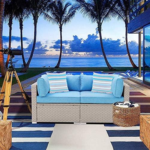 SUNBURY Outdoor Sectional 2-Piece Wicker Sofa Chair