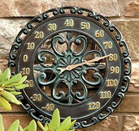 14u0026quot; Medallion Outdoor Thermometer Wall Hanging Outside Patio Porch  Wall Decor