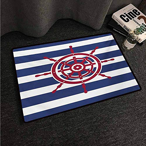 (HCCJLCKS Front Door Mat Large Outdoor Indoor Ships Wheel Illustration of Ship Steering Wheel Icon on a Stripped Background Artwok Easy to Clean Carpet W31 xL47 Navy Blue Red)