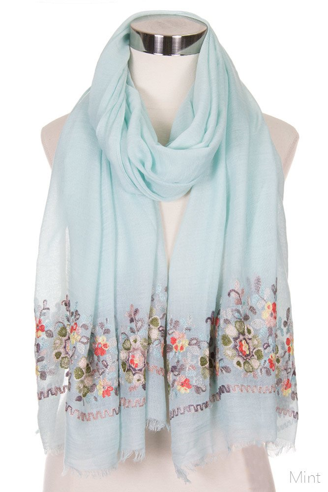 ScarvesMe Women's Floral Embroidered Accent Oblong Scarf (LOF491 MINT)