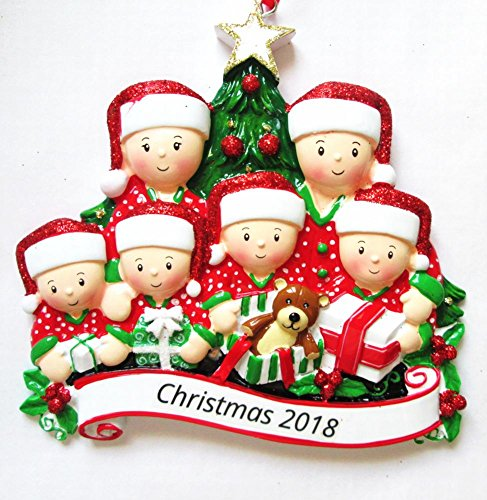DBK Gifts 2018 Opening Presents Personalized Christmas Ornament Personalized Free (Family of 6)