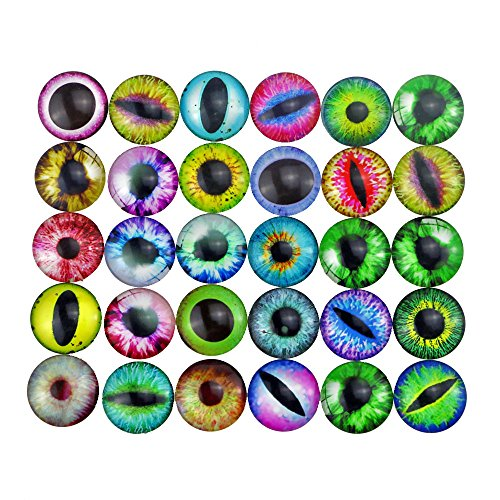 Acmer 30 Pieces semi-finished glass cabochons, eye glass dome cabochon, Non-calibrated Round 1 inch/25mm For Photo Pendant Craft Jewelry (Eye Cabochon Pendant)