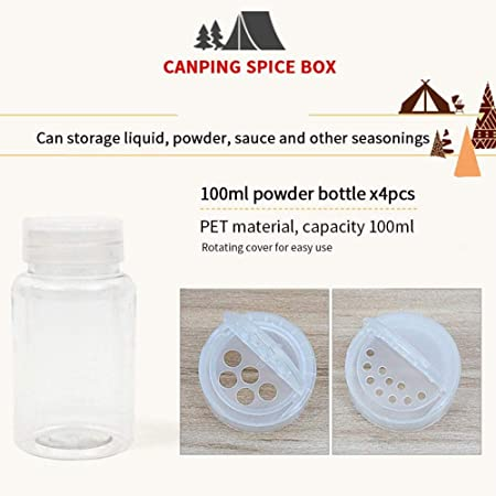 Bocaux /à /épices pour Le Camping//Cuisson//Barbecue//Pique-Nique//Voyage (6 Pi/èces )#3 KBstore Pot /à /épices et Sac de Rangement Portable