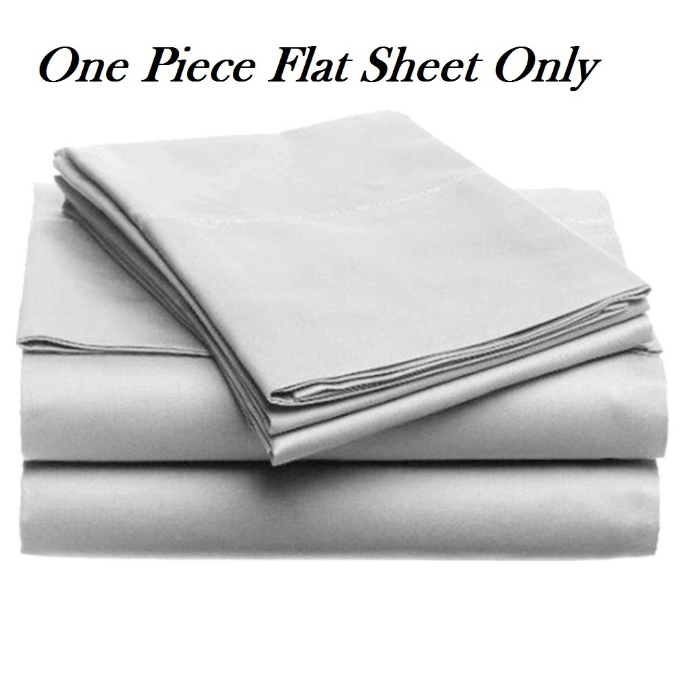 1-Piece Flat Sheet/ Top Sheet in Cal-King Size Silver Grey Color, 800 Thread Count ( Solid Pattern ) 100% Egyptian Cotton for Maximum Comfort Made by Plum Linen