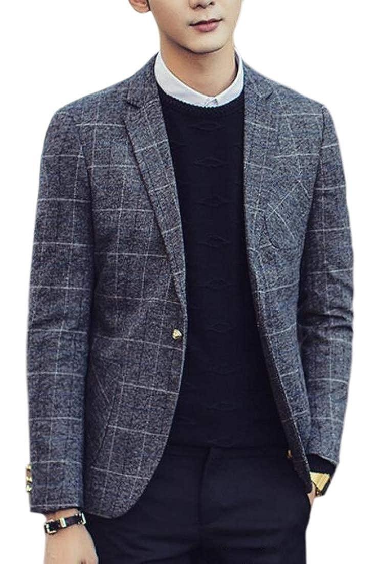 Alion Mens Button Up Lattice Detail Long Sleeve Lapel Blazer
