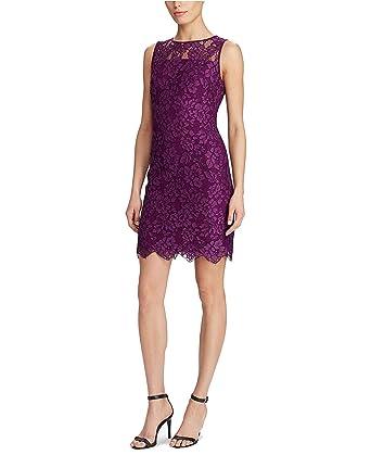 a820c702 Lauren Ralph Lauren Women's Petite Scalloped Lace Dress Plum ...