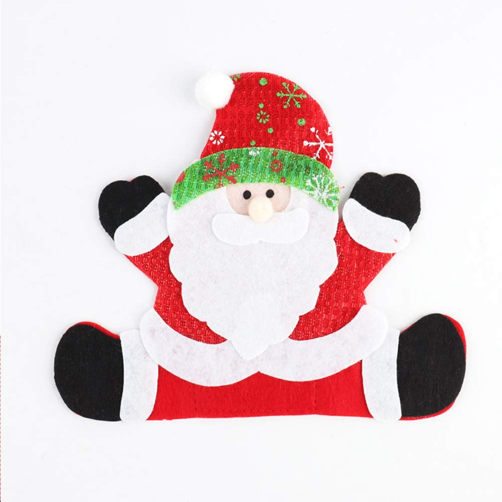 Christmas Cutlery Cover Xmas Cutlery Pockets Silverware Holders Tableware Bags Santa Snowman Reindeer Pattern Flatware Organizers(Santa Claus)