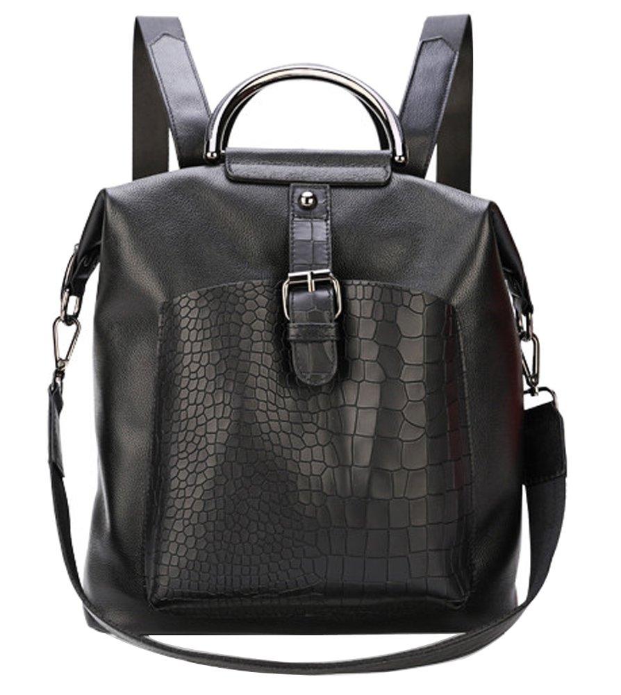 Fiswiss Women's Genuine Leather Fashion Backpack Shoulder Handbags Everyday Purse (Black)