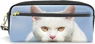 Trousse à crayons, chat imprimé trousse de maquillage de voyage grande capacité en cuir imperméable 2 compartiments pour filles, garçons, femmes, hommes